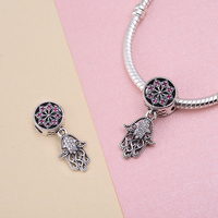 Angel Caller Genuine 925 Sterling Silver Hamsa Hand Dangle Charms fit Bracelets & Necklaces DIY Jewelry Accessories for Women