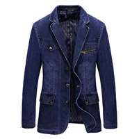 2017 Spring New Arrival Brand Clothes Men Jackets Blue Denim Blazer Overcoat Slim Fit Jeans Casual