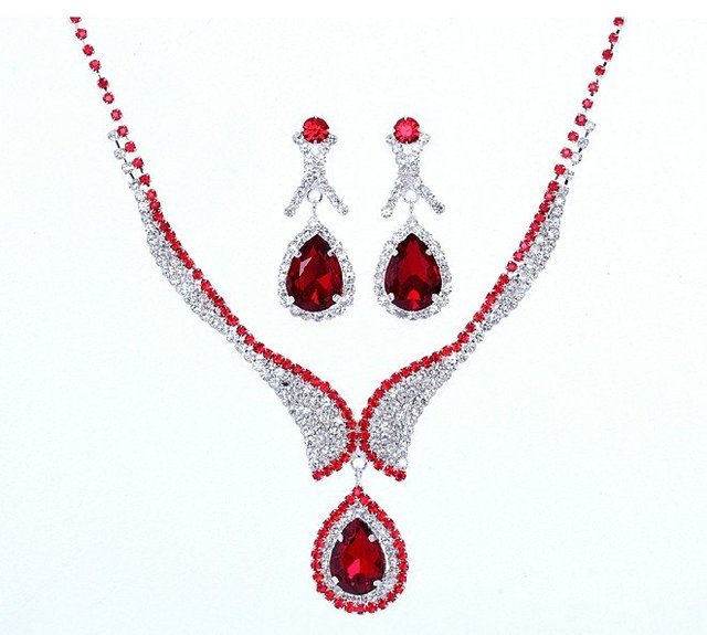 Free Shipping Fashion Red Wedding Jewelry Sets Imitated Diamond Bridal Necklace and Earrings Dress Accessories For Woman