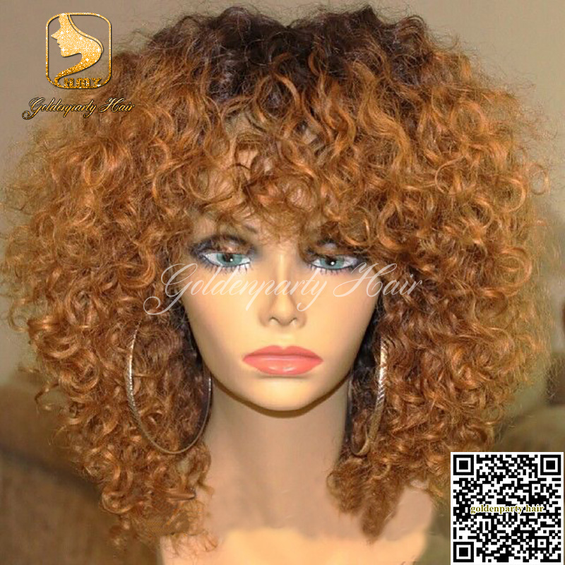 130 Density Brazilian Short Ombre Curly Wig Bleached Knots
