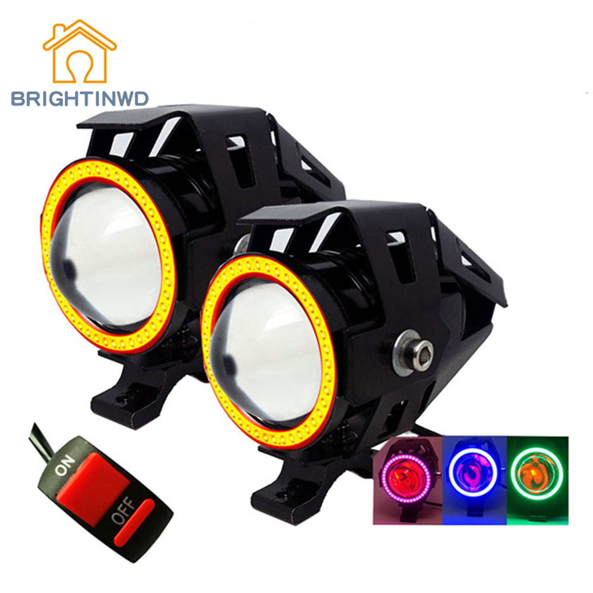 BRIGHTINWD 3000LMW Motorbike spotlight 2PCS 125W Motorcycle Headlight U5 U7 LED Moto Driving car Fog Spot Head Light Lamp