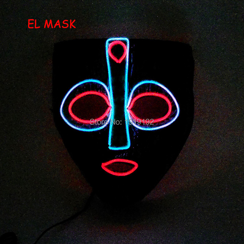 2018 New pattern EL Party glow mask DJ flickering party supplies Rave Riding Colorful mask with DC-3V Dirver For Concert Props