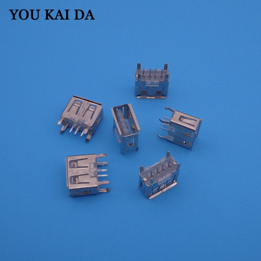 20Pcs/lot  A Type Flat Angle 180 Degree Female USB PCB Connector Socket, USB Jack Plug A Type Female USB