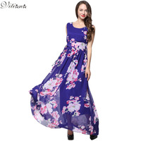 2016 Womens Summer Elegant Beach Chiffon Clothing Bohemian Print Maxi Long Party Dress Plus Size 5XL