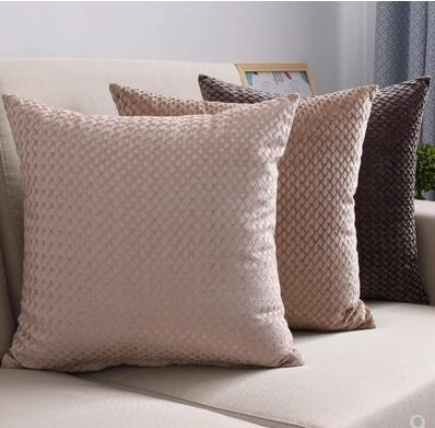 Solid Color Velvet Embossed Cushion