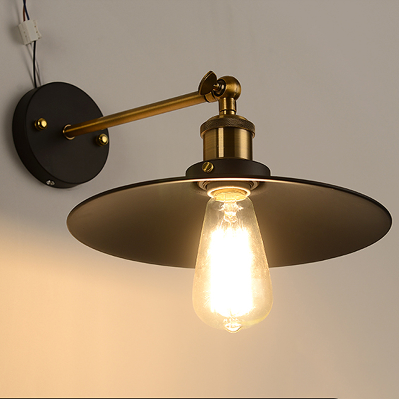 Vintage Plaqué Industrielle Mur Lampe Rétro Loft Applique Murale