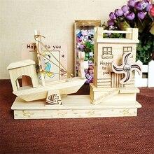 Hand Cranked Music Box Lovely Bear Ship House Model Children Girls Christmas Birthday Gift Toys Baby Room Decor