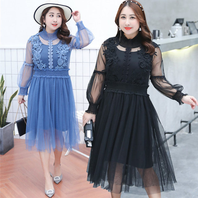 Summer Fat MM Plus Size XL-4XL Women Solid Color Stand Collar Was Thin Two  Pieces Cover Belly Femme Sweet Loose Dress MZ2702 451724e704db