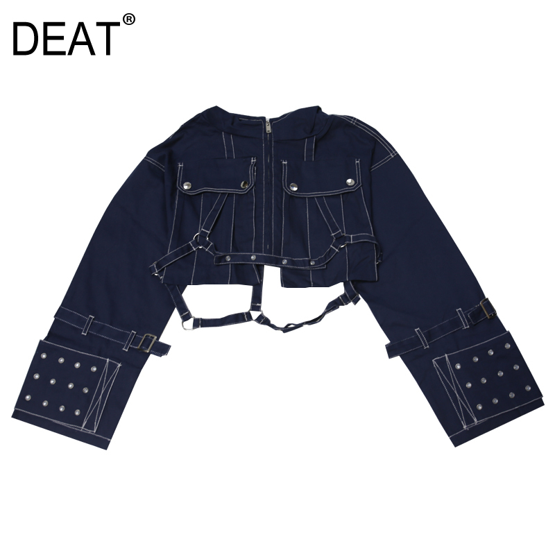 DEAT 2019 new spring fashion women clothes hooded zippers denim metal spliced high waist jacket female