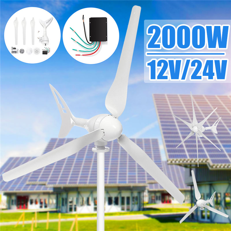 2000W 3/6 Blade 12/24 Volt+Controller Wind Turbines Horizontal Wind Generator Power Automatically adjust windward direction tail2000W 3/6 Blade 12/24 Volt+Controller Wind Turbines Horizontal Wind Generator Power Automatically adjust windward direction tail