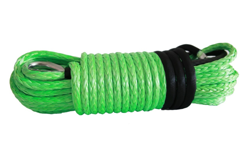 Green 12mm 30m Synthetic Winch Rope Replacement Winch Cable Winch Rope Extension Towing Ropes