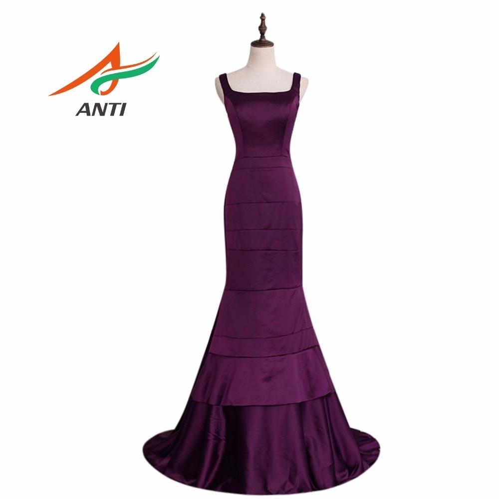 ANTI seksi grozdna vijolična svečana obleka večerna obleka dolga - Obleke za posebne priložnosti