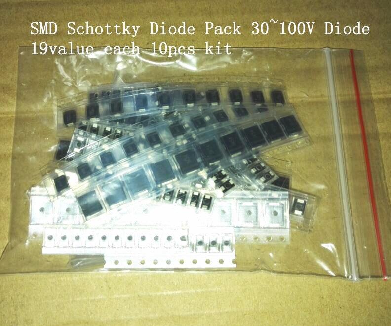 Комплект диодов SMD Schottky, 30 ~ 100 в, 10 шт., для ремонта и исследований, SS34 SS36 SS210 SS16 SS24 SS12 SS14 SS26 SS310, 19 значений