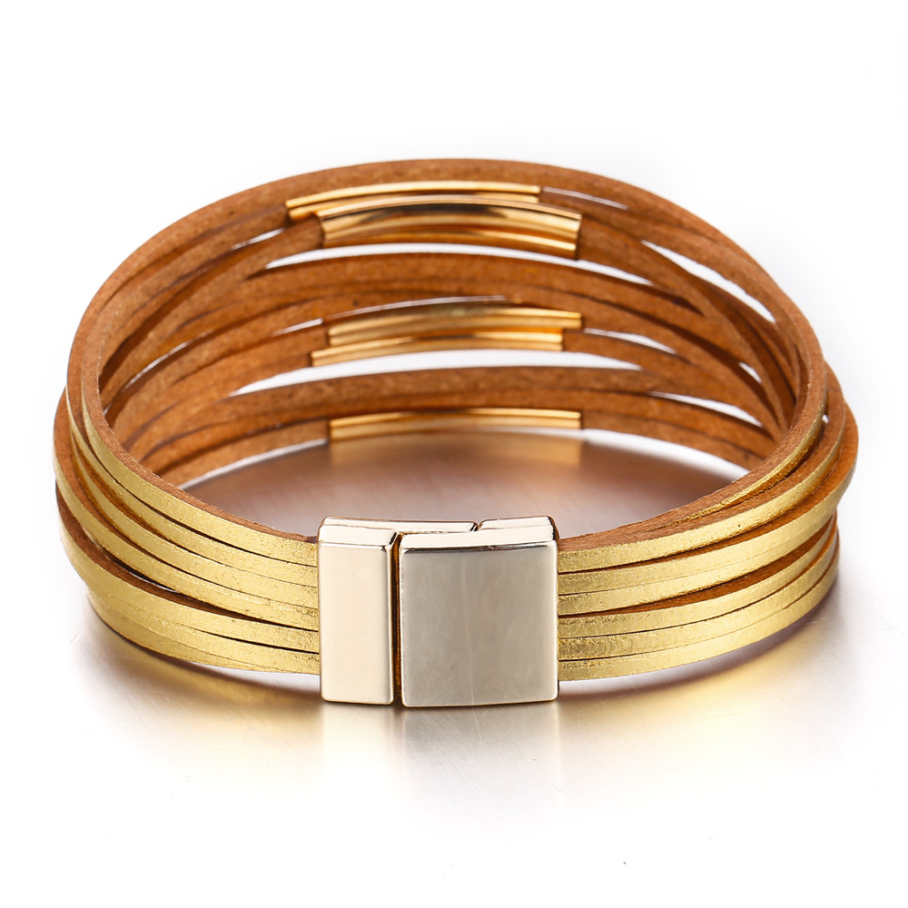 Leather Wrap Bracelet With Charms: 17KM New Gold Leather Wrap Bracelets For Women Red Sliver