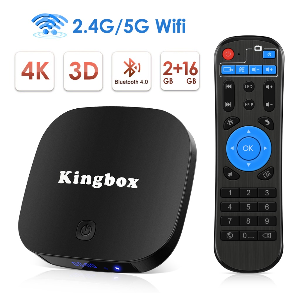 Leelbox Android 8.1 Smart TV Box 2GB 16GB 2.4G/5G Wifi H.265 4K HD Google Streaming lecteur multimédia décodeur Netflix IPTV Box