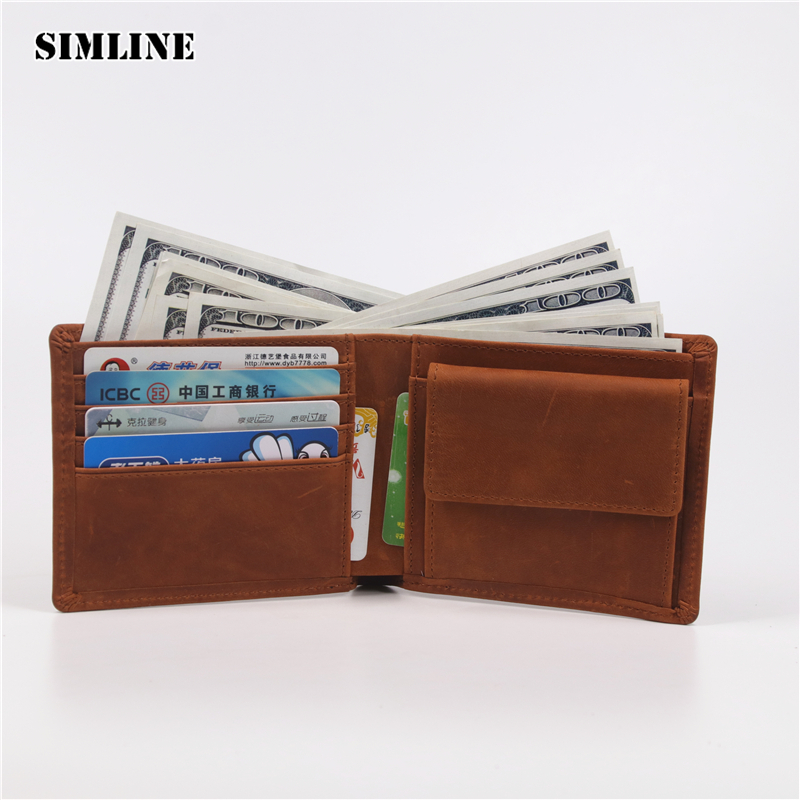 SIMLINE Genuine Leather Men Wallet Men's Vintage Crazy Horse Cowhide Short Wallets Purse With Coin Bag Pocket Card Holder Male simline genuine leather wallet men men s long vintage cowhide clutch wallets purse card holder zipper coin pocket chain 3d male