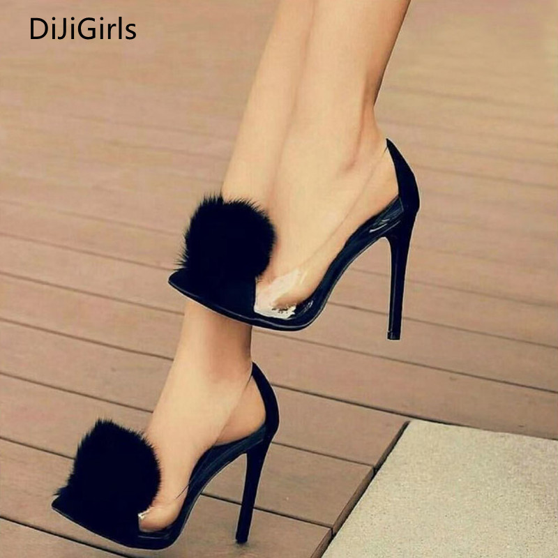 DiJiGirls Ladies Party Transparent PVC High Heels Women Pointed Pumps Fluff Ball Shoes Female Fashion Street Beat Shoes Woman