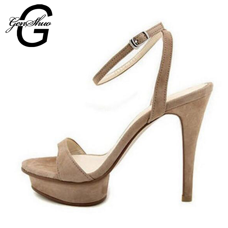 GENSHUO 2017 New Women Fashion Round Toe Platform Ankle Strap High Heel Sandals Summer Black Flock Bluck Shoes Size 33 new 2017 spring summer women shoes pointed toe high quality brand fashion womens flats ladies plus size 41 sweet flock t179
