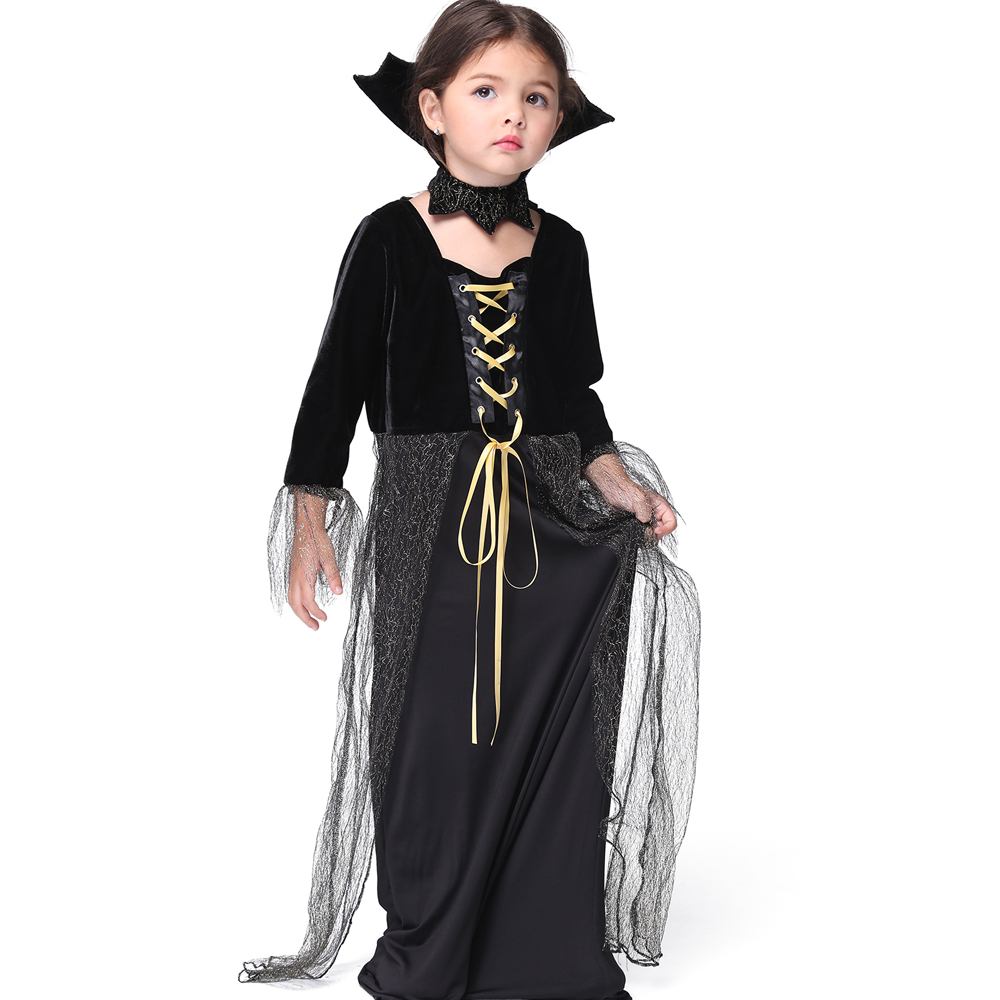 halloween vampire princess children halloween costume lace dress necklace set kid party dress performance cosplay costumes - Halloween Costumes Vampire For Girls