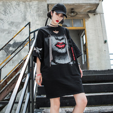 Fashion Streetwear Young Women T Shirt Girls Punk Tee Tops with Red Lip Printing Loose Middle Sleeve Hip Hop Tshirt