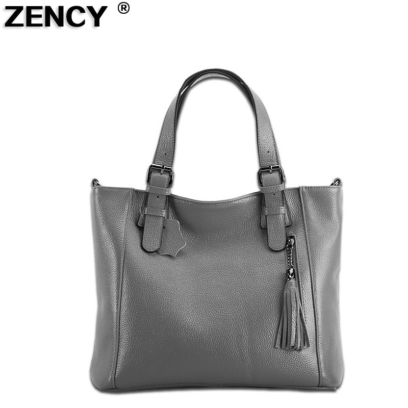 2017 New 100% Genuine Leather Tassels Women Ladies Real Cowhide Handbags Messenger Shoulder Tote Bag Hobo Satchel Suitcase Bolso zency new women genuine leather shoulder bag female long strap crossbody messenger tote bags handbags ladies satchel for girls
