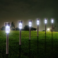12pcs Lot Stainless Steel Solar Lawn Light For Garden Drcorative Solar Power Outdoor Solar Lamp White