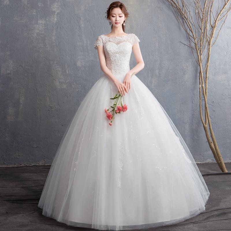 EZKUNTZA 2019 New Off White Elegant Wedding Dress Sweet Flower Princess Noble Lace Slim Lace Up Wedding Gown Vestido De Noiva L