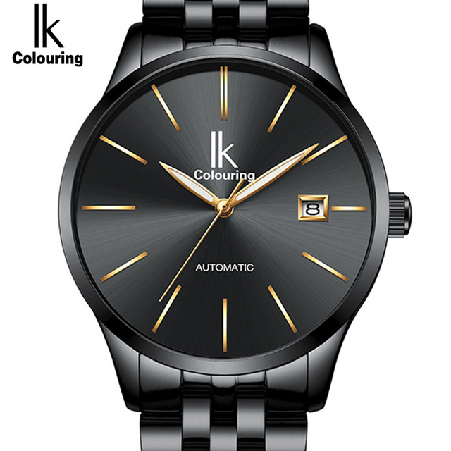 IK Mens Watch Mechanical Watches Top Brand Luxury Fashion Casual Mechanical Clock SimpleLeather Large Dial Wristwatch 4574