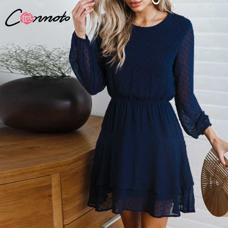 Conmoto Vintage Party Women Dress Elegant Long Sleeve Polka Dot Blue Dress Solid Short Ruffles Chiffon Winter Dress Vestidos