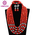 2017 Latest African Coral Bridal Nigerian Wedding Jewelry Set Women Costume Fashion Coral Beads Jewelry Set Free Shipping CNR538