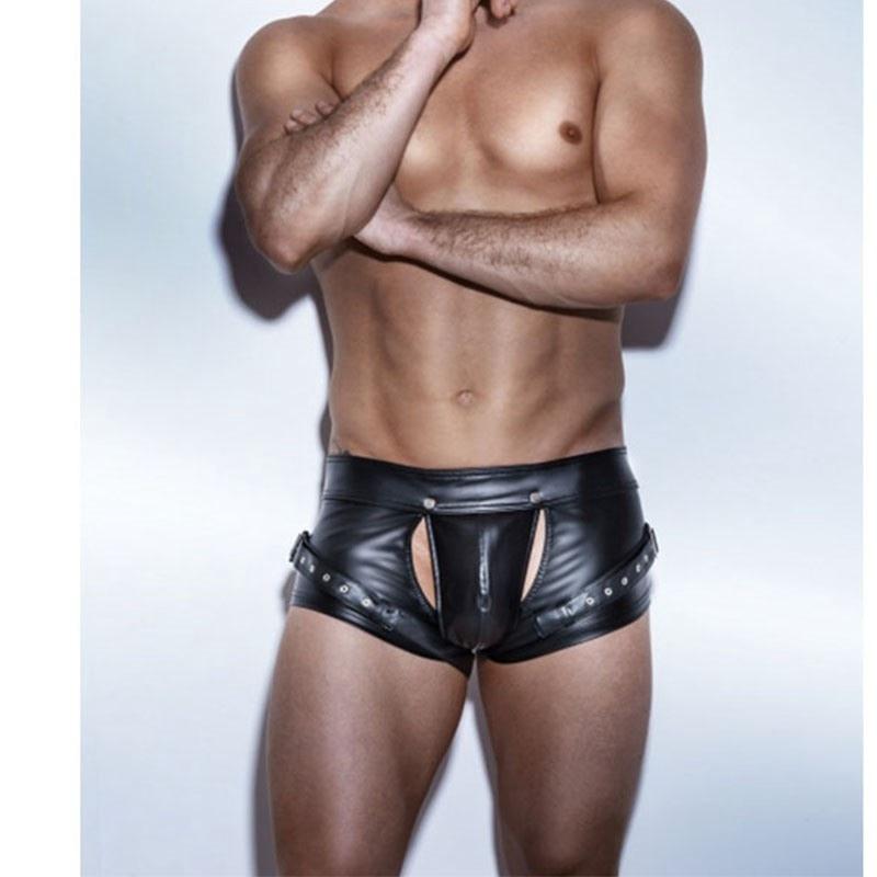Sexy Open Crotch Boxers Shorts Black PVC Faux Leather Boxers Shorts Teddy Fetish Costumes PU Catsuit Men Latex Short Pants