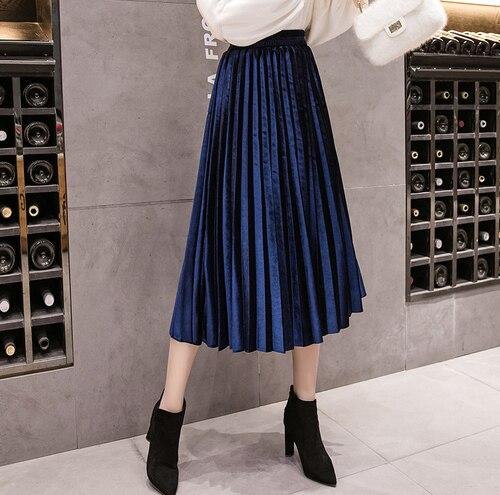 Autumn Winter Velvet Skirt High Waisted Skinny Large Swing Long Pleated Skirts Metallic 18 Colors Plus Size Saia #3