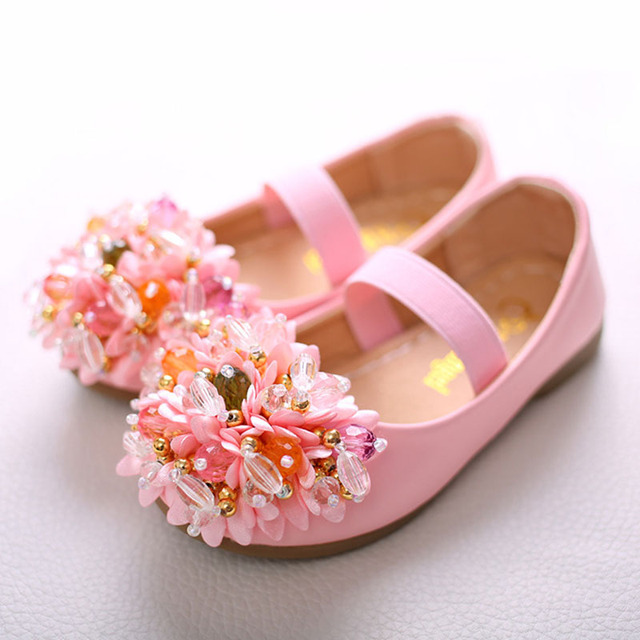 Girls Flower Beaded Dancing Shoes Children\'s Elastic Band Princess ...