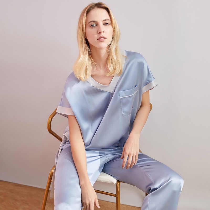 PIXY мягкая пижама 100% шелк пижамный комплект Loungewear для женщин домашняя одежда атласные пижамы фиолетовый Pijama Mujer голубой сна