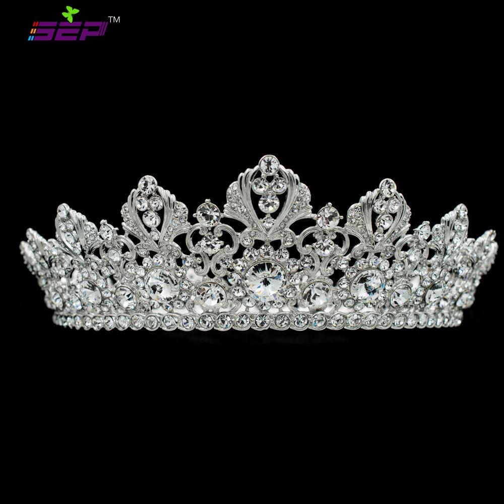 Big Full Bridal Wedding Tiaras Crowns Headband Austrian Crystals Women s Prom Hair Accessories Jewelry SHA8729