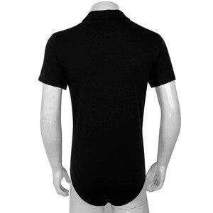 Image 4 - TiaoBug גברים קצר שרוולים תורו למטה צווארון הצמד מפשעה חולצה בגד גוף Romper פיג מה סקסי זכר מקשה אחת מקרית חולצות תלבושות