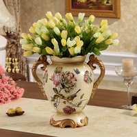 vase ornaments European decor Home Furnishing hand-painted floral arrangement dining room retro furnishings gifts