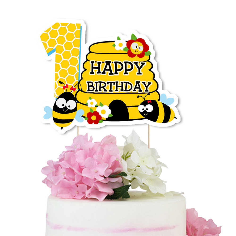 Astounding Bumble Bee Cake Topper Honeycomb Centerpiece Bumble Bee Birthday Funny Birthday Cards Online Inifofree Goldxyz