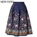 NEW OOPS 2016 New Design Midi Skirts Vintage Floral Printed Swing Pleated Flared Women Skirt A1602008
