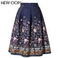 NUEVA UY 2016 Nuevo Diseño Midi Faldas Impreso Floral de La Vendimia Oscilación Plisada Evasé Falda A1602008