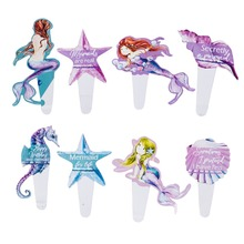 8pcs Cake Cupcake Topper Under The Sea Party Decoration Mermaid Table Centerpiece Kids Birthday Favors Supplies