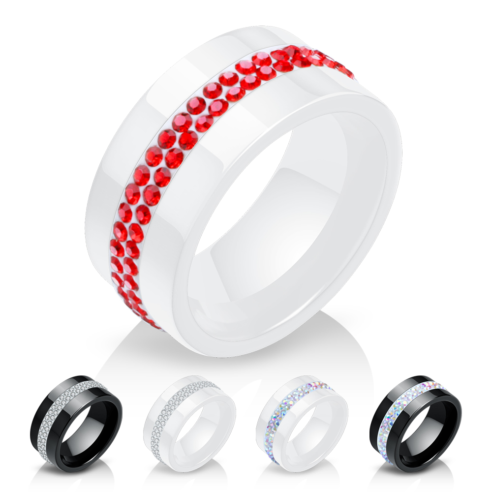 New 10MM Black and White 2 Row Crystal Ceramic Rings