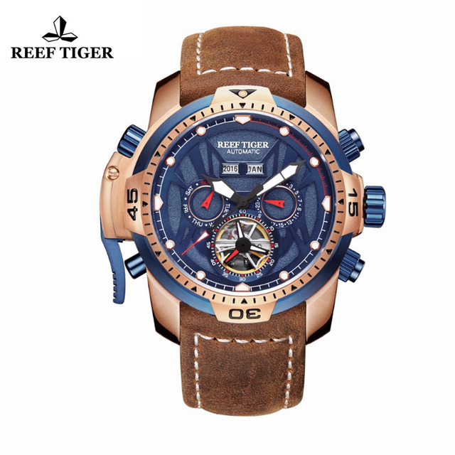 Reef Tiger Big Sport Watches Mens Leather Strap Rose Gold Blue Functional Watch Mechanical Automatic Watch Waterproof RGA3532