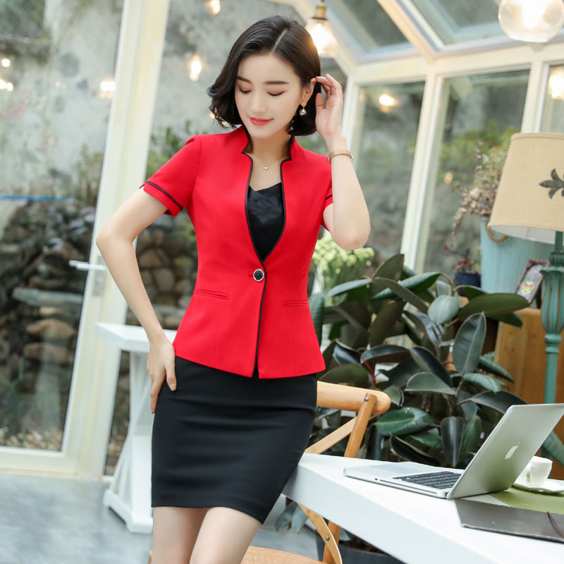 Uniform Styles Elegant Fashion Red Summer Blazers Suits With Tops And Skirt For Women Office Work Wear Professional Summer Sets