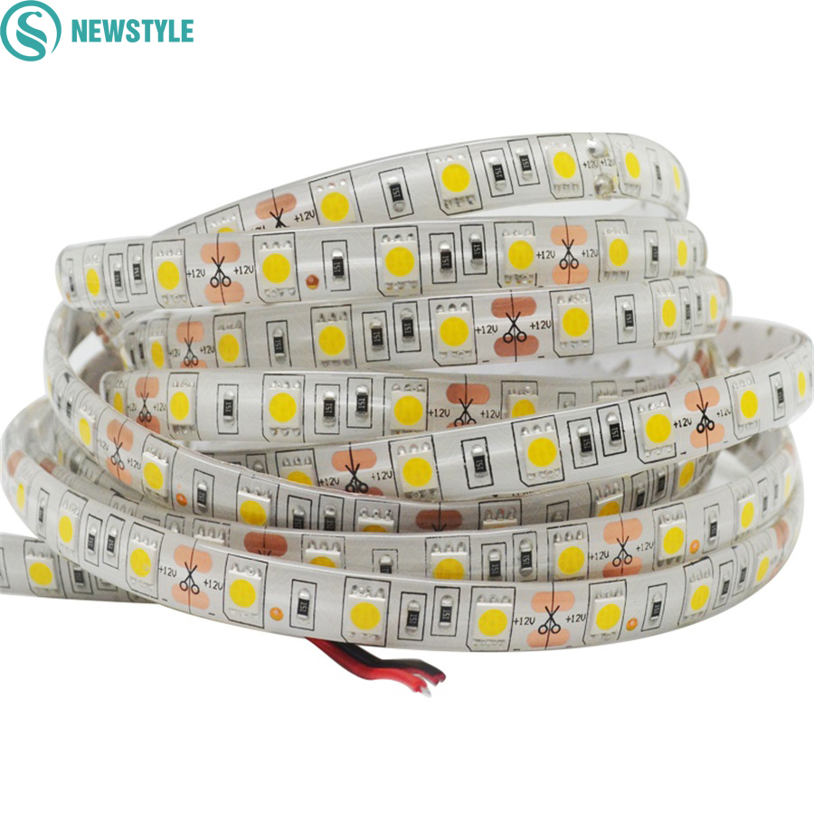 5M DC12V Waterproof LED Strip 5050 SMD 60Led/m Flexible Led Light White, Warm white, Red, Green, Blue, RGB Tape Ribbon 3528 smd 120 led m led strip 5m 600 led 12v flexible light no waterproof white warm white blue green red yellow
