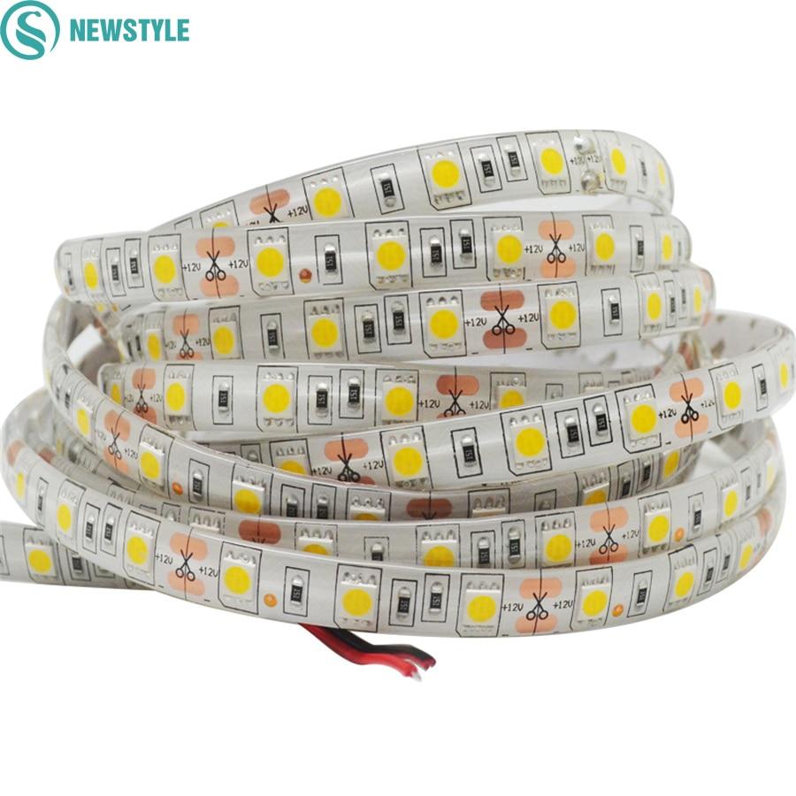5M DC12V Waterproof LED Strip 5050 SMD 60Led/m Flexible Led Light White, Warm White, Red, Green, Blue, RGB Tape Ribbon