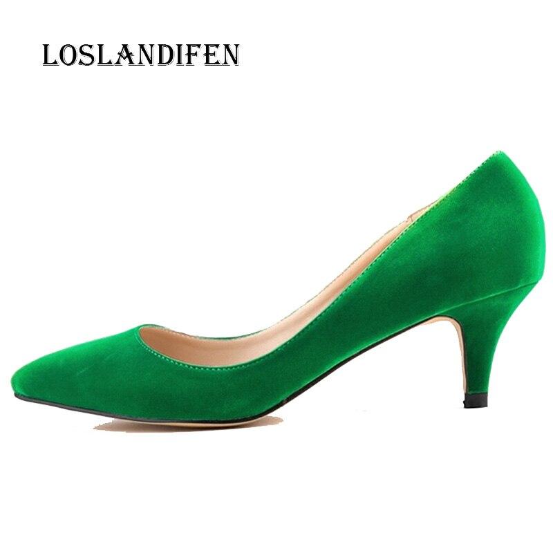 Loslandifen New Fashion Ladies High Heels Office Stiletto Women Flock Pointed Toe Office Pumps Plus Size 35-42