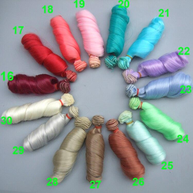 все цены на 1 pieces 15 cm curly doll hair green purple pink color high temperature heat resistant handmade doll wigs BJD онлайн