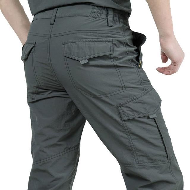 De Secagem rápida Calças Dos Homens Calças de Verão Casuais Calças Dos Homens de Estilo Militar Do Exército Carga Calças Táticas Masculinos Calças Impermeáveis leves