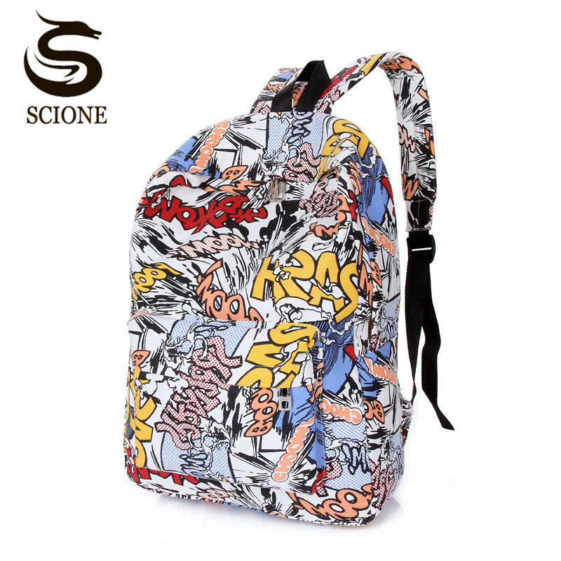 2018 Factory Price School Bags For Teenagers School Backpack Korean Women Mens Fashion Graffiti Backpack Graffiti Shoulder Bag
